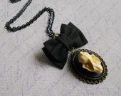 Bat skull cameo necklace small black bow Gothic lolita