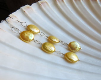 freshwater pearl earrings. beach earrings. RAZZLE DAZZLE. lemon yellow earrings. long dangle earrings. June birthstone. cruise earrings.