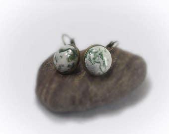 Gemstone Earrings Leverback Earrings Moss Agate Earrings Statement Earrings Pierced Earring Gemstone Leverback - 14136