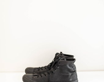 black Converse high top sneakers - women's size 10 - men's size 8