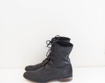 black leather lace up ankle combat boots - women's size 8 M