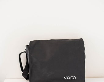 NY&CO black vinyl minimalist messenger bag - cross body bag