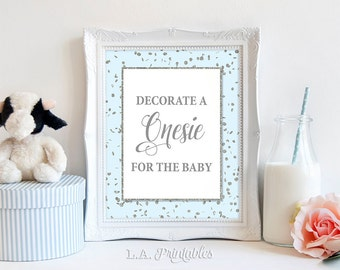 Decorate a Onesie for the Baby Sign, Blue & Silver Glitter Shower Sign, Baby Boy Shower Sign, 2 Sizes, DIY Printable, INSTANT DOWNLOAD