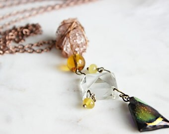 SALE Fused Glass Necklace | Quartz Crystal Necklace with vintage elements | Timeless