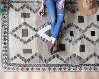 "vintage nomadic rug, muted geometric rug, minimalist Gabbeh rug, 7' 2"" x 4'.3"""