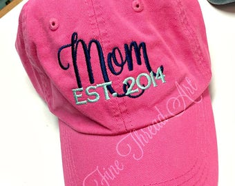 LADIES Mom Baseball Cap Hat FABRIC strap Established Year Mother Mother's Day Mom Mommy Baby Shower Mom to Be