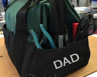 Tool Bag in Dark Green with Monogram or Name Embroidered Father's Day Dad Tool Organization Organizer Multiple Pockets Groomsman Gift