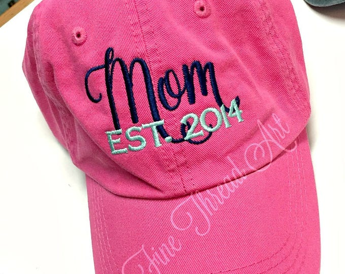 Featured listing image: LADIES Mom Baseball Cap Hat FABRIC strap Established Year Mother Mother's Day Mom Mommy Baby Shower Mom to Be