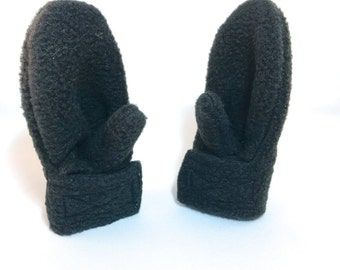 Stay on Mittens - Baby or Toddler Sizes - Black Fleece