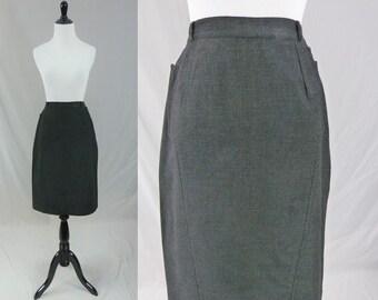 "50s Gray Wool Skirt - Stitch Detail - Classic Office Skirt - Vintage 1950s - 24"" waist"