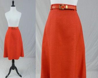 "70s Bright Red Skirt - Matching Red Belt - Evan-Picone - Vintage 1970s - M 28"" waist"