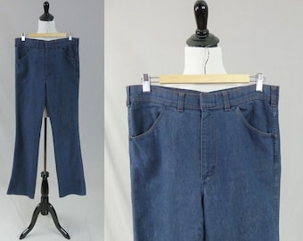 "70s Men's Jeans - Medium Blue Denim Pants - Sportabouts - 32x34 - 32"" waist x 34"" length"