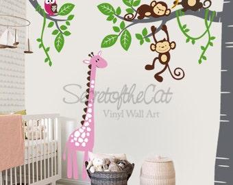 Nursery Wall Decal - Wall Decals Nursery - Corner Tree Vinyl Wall Decal - Tree Wall Decal - Giraffe - Tree and monkeys