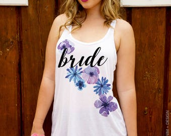 Bride Tank, Bride Shirt Flower Trail Women's Flowy Tank Top Blue & Purple Floral, Gift for Bride, Bridal Party Shirts, Garden Wedding Shower