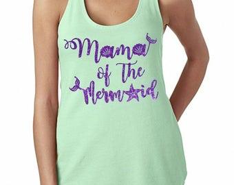 Mama of the Mermaid purple glitter mint green women's tank