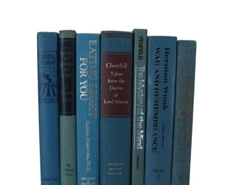 Blue Book Stack , Blue Vintage Books , Home Decor , Old Books ,  Photo Prop , Bookshelf Decor , Table Setting , Wedding Decor