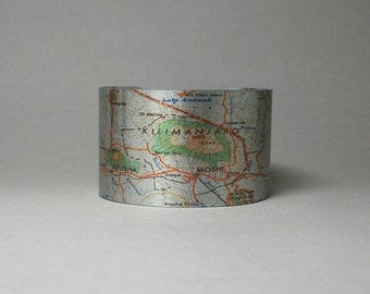 Mount Mt Kilimanjaro Tanzania Africa Cuff Bracelet Vintage Map Unique Gift for Men or Women