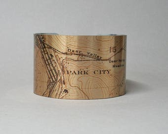 Park City Utah Map Cuff Bracelet Unique Gift for Men or Women