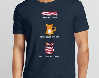 Retro Video Game Shirt: Bacon Cat Shirt | 8 bit shirt, retro gamer shirt, video game tee shirt, 80s t shirt, video game tshirt, geek tee