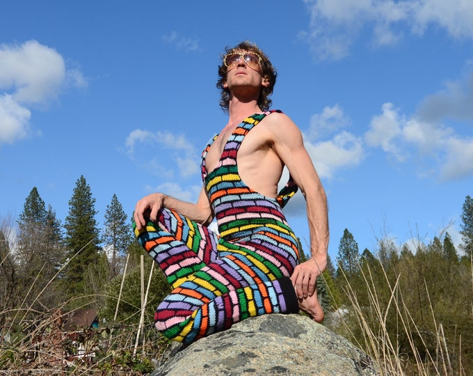 Knit Overalls Rainbow Stained Glass