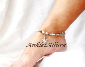 Beach Anklet Starfish Ankle Bracelet Pearl Body Jewelry Cruise Foot Jewelry Beach Wedding