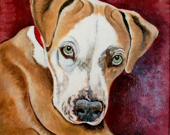 Custom Pet Portrait Hand Painted One Dog or Cat 11 x 14 Canvas Painting Dog Portrait Pet Lover Pets Dog Lover Gift Personalized