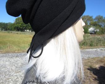 Cool Cashmere Hats Woman's Slouchy Beanie Unique Black Knit Slouch Tam 100% Pure Cashmere by VACATIONHOUSE A2004