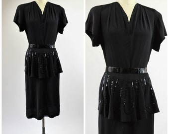 1940s Black Crepe Dress Size Medium Front Apron with Black Sequins Home Sewn