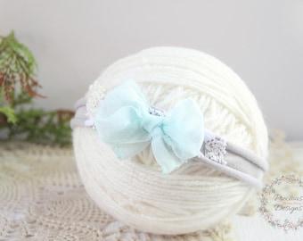 Newborn Bow Tieback, Baby Tieback Headband, Newborn Photo Prop, Newborn Tie Back, Baby Headband, Light Blue Bow Headband, Cream, Gray, Lace