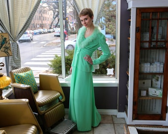 Free Shipping!: Vintage 1960s Two Piece Mint Green Evening Dress and Feather Trim Jacket