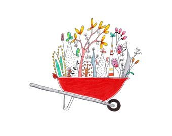 Wheelbarrow, garden art print, plant art print, botanical art print, botanical print, kids room wall art, botanical art,best botanical art