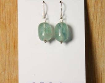Fluorite Earrings Sterling Silver hooks  E2157