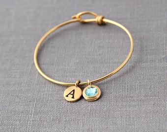 Gold Birthstone Initial Bracelet, Gold Grandma Gift, Family Bracelet with Initials, Gold Mothers Jewelry