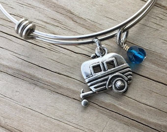 Camping Charm Bracelet- Adjustable Bangle Bracelet with Camper Charm, and accent bead in your choice of colors