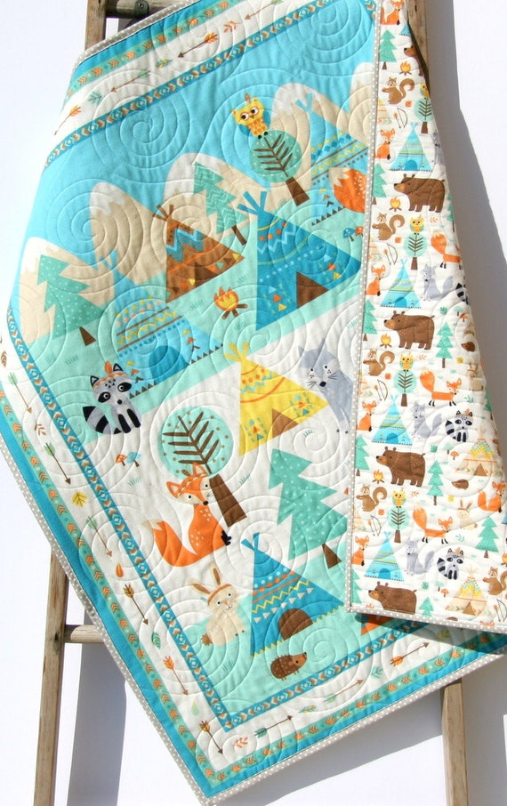 Quilt Flannel Baby Boy Or Girl Bedding Teepee Time Woodland