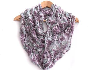 Rainbow Flourite Flowery infinity scarf , hand knit cowl scarf , long delicate lace cowl , multi colours , 6' long , womens gift