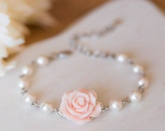 Bridesmaid Bracelet Flower Girl Bracelet Blush Pink Wedding Bridal Bracelet Soft Pink Rose White Pearls Adjustable Bracelet Wedding Jewelry