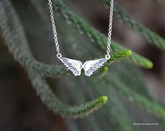 Wings Necklace, Silver Wings Pendant, Handmade Sterling Silver Necklace