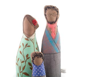 Selfie Couple Family , portrait dolls , family dolls , likeness fabric dolls , textile portrait ,  Playset dolls , eco handmade decor doll