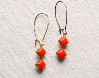Orange Deco Earrings ... Square Geometric Vintage Neon