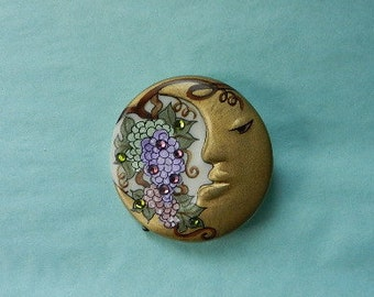 Adagio moon pin Grape Vine handpainted porcelain with crystals