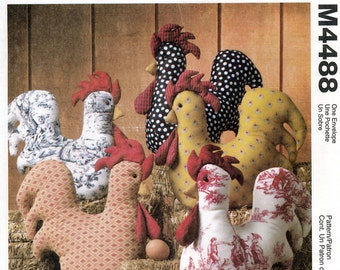 """McCall's Crafts M4488 Sewing Pattern for """"All Puffed Up"""" Roosters - Uncut"""