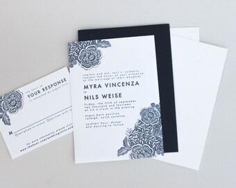 SAMPLE - Floral Lace Wedding Invitation