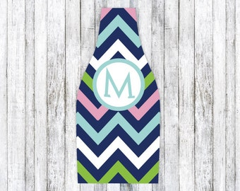 PINK NAVY CHEVRON personalized monogram bottle beverage insulator - zippered back for longnecks - weddings, bachelorette, parties, beaches
