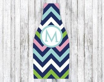 PINK NAVY CHEVRON personalized monogram bottle beverage insulator - zippered back for longnecks - weddings, bachelorette, parties, beaches