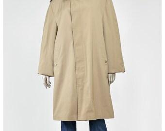 London Fog Trench Coat Raincoat Vintage 60s Jacket Khaki Beige Trench Knee Length Trenchcoat Rain Coat 1960s Jacket L/XL