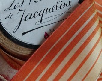 Gorgeous roll vintage French 1940s striped ribbon Les Rubans de Jaqueline soft orange hues