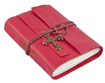 Red Leather Journal with Blank Pages and Cross // Prayer Journal // Travel Journal // Ready to Ship