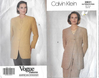 Vogue 2831 American Designer Calvin Klein Misses' 90s Jacket Sewing Pattern Size 6 to 10 Bust 30 1/2 to 32 1/2