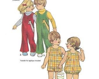 Simplicity 5049 Child Boy Girl 70s Jumpsuit Romper or Bubblesuit with Giraffe transfer Sewing Pattern Size 1 Breast Chest 20